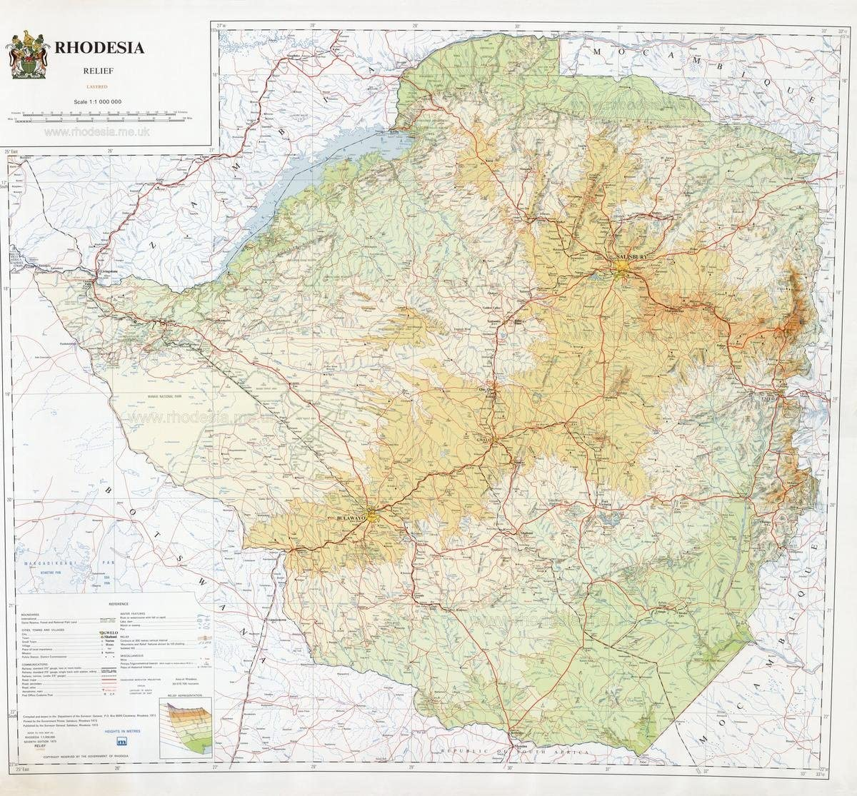 Gifts Delight Laminated 25x24 Poster: Physical Map - Rhodesian Maps Archive of Rhodesia