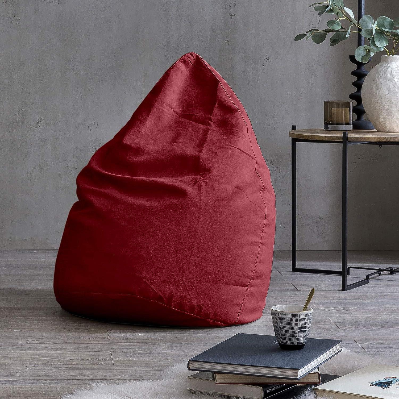 Lumaland Beanbag PUF otomano sillón Niño Puff XL Comfortline 120 lt Costuras reforzadas Rojo