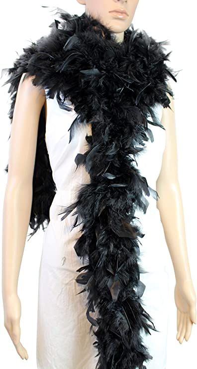 Cynthias Feathers 100g Chandelle Feather Boa Black//Gold Tinsels