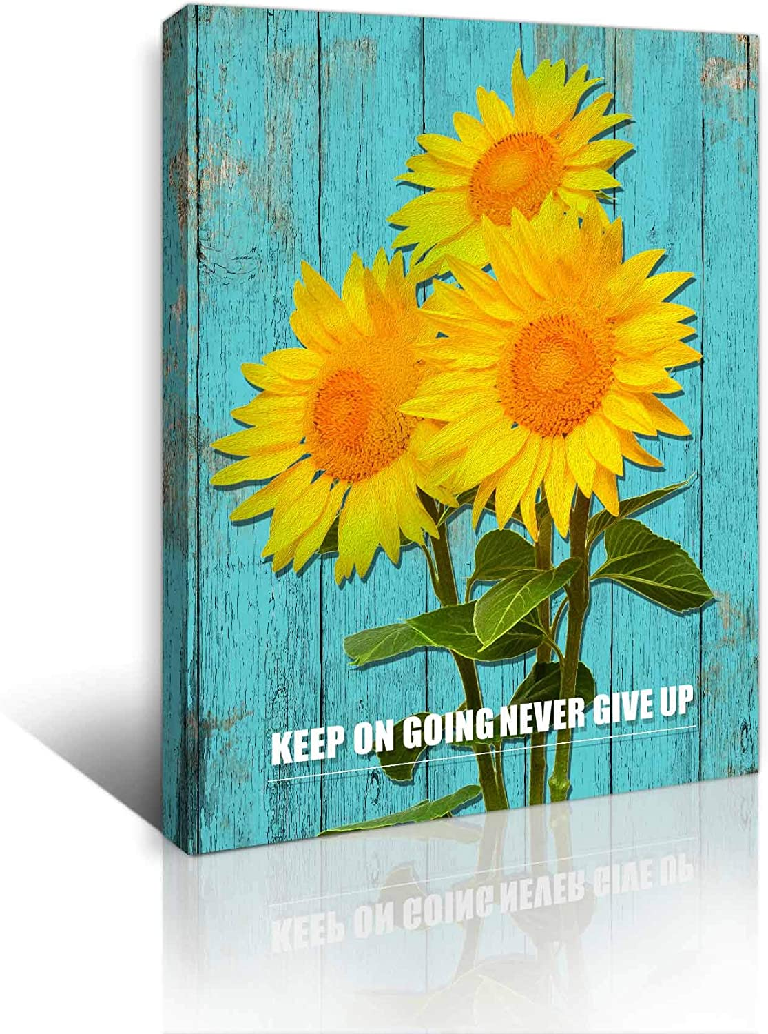 Rustic Sunflower Bathroom Wall Decor Farmhouse Wall Art Framed Picture for Bedroom Wall Decor Kitchen Canvas Prints Teal Country Board Theme Wall Decoration Modern Artwork for Home Decor Size 12x16