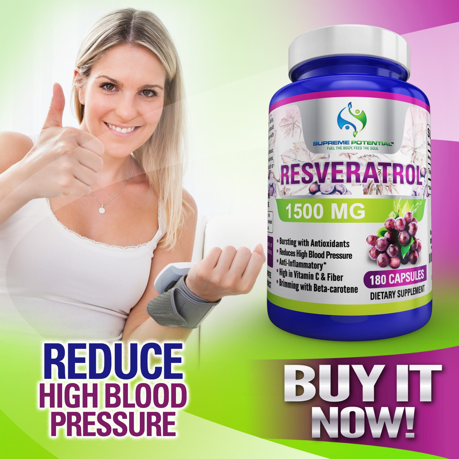 Supreme Potential 100% Pure Resveratrol Extract for Anti-Aging & Heart Health - 1500mg Maximum Strength (1) by Supreme Potential