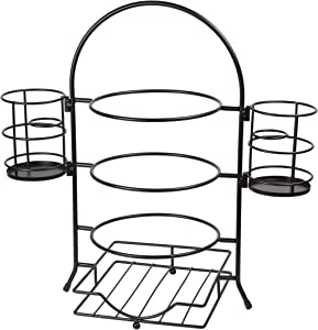 Creative Home 3-Tier Plate Rack With Removable Flatware Holder, Black