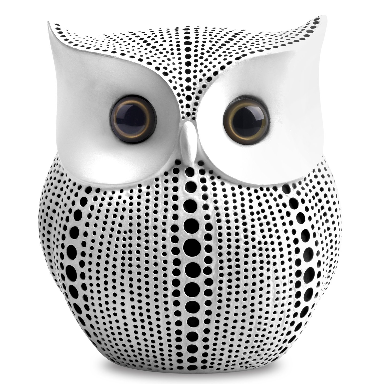 Owl Statue Decor (White) Small Crafted Buho Figurines for Home Decor Accents, Living Room Bedroom Office Decoration, Buhos Bookself TV Stand Decor - Animal Sculptures Collection BFF for Owls Lovers by APPS2Car