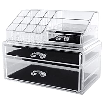 Amazoncom SONGMICS Makeup Organizer Cosmetic Jewelry Storage