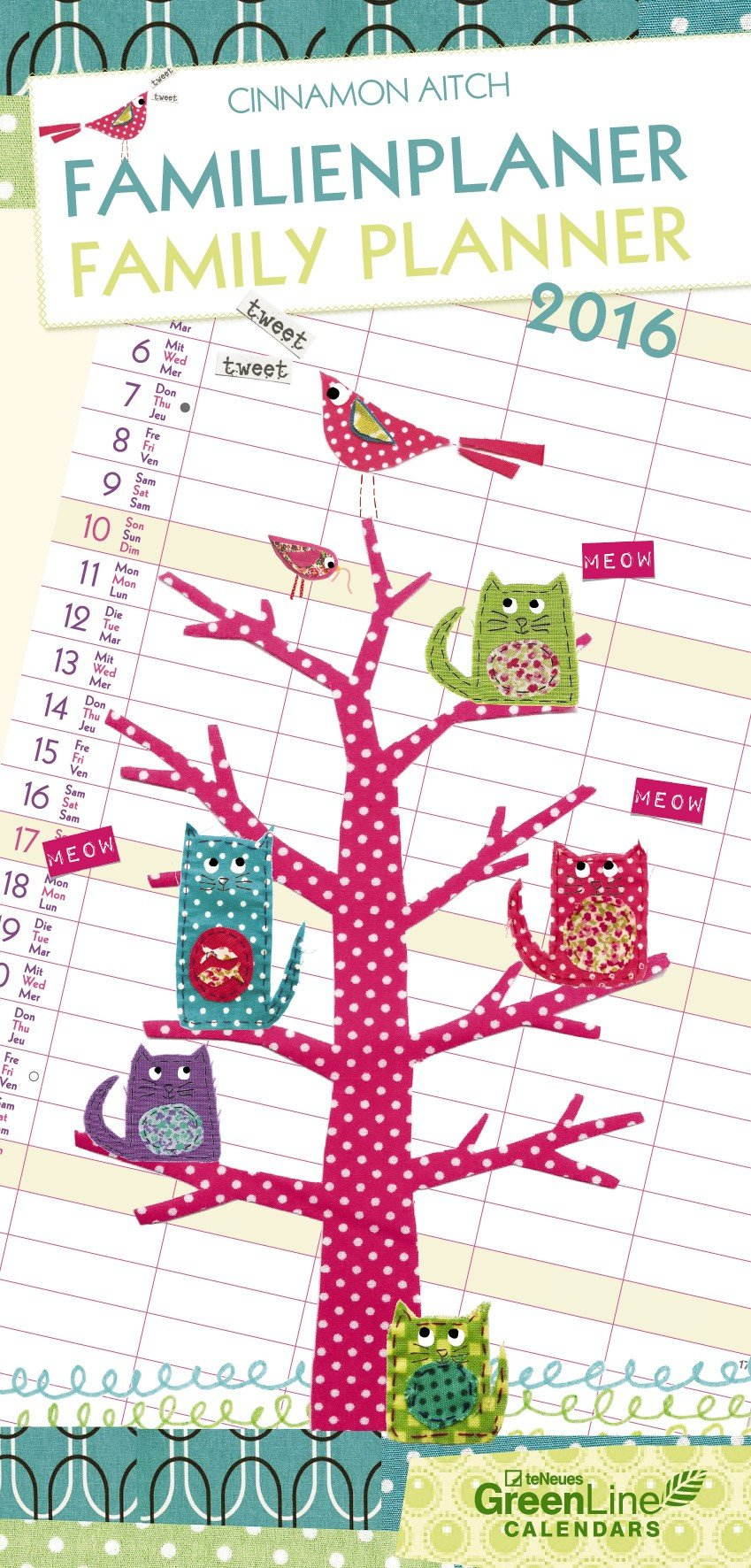 cinnamon aitch 2016 family planner green line characters 23 x