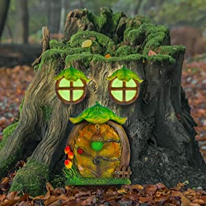 Juegoal Miniature Fairy Gnome Home Window and Door for Trees Decoration, Leave Shape Glow in Dark Fairies Sleeping Door and Windows, Yard Art Garden Noctilucence Sculpture, Lawn Ornament Decor