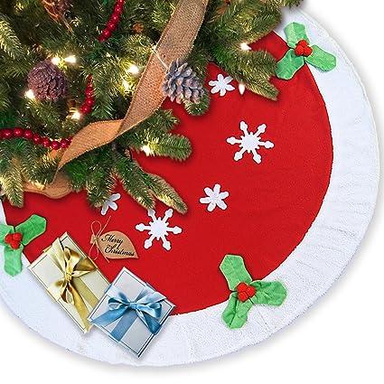 ivenf 43 12 plush fleece large christmas tree skirt xmas holiday party - Large Christmas Tree Decorations