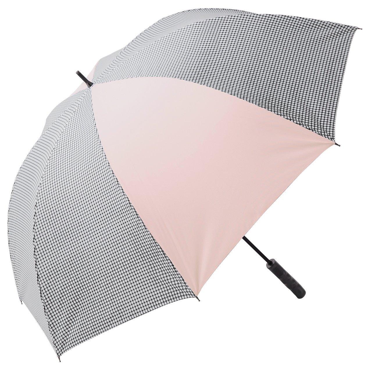 【Rose Blanc】100%完全遮光 日傘 晴雨兼用 ゴルフ プレーン&パイピング 75cm (ギンガムC×ピンク(プレーン)) B06XTH54K4 ギンガムC×ピンク(プレーン) ギンガムC×ピンク(プレーン)