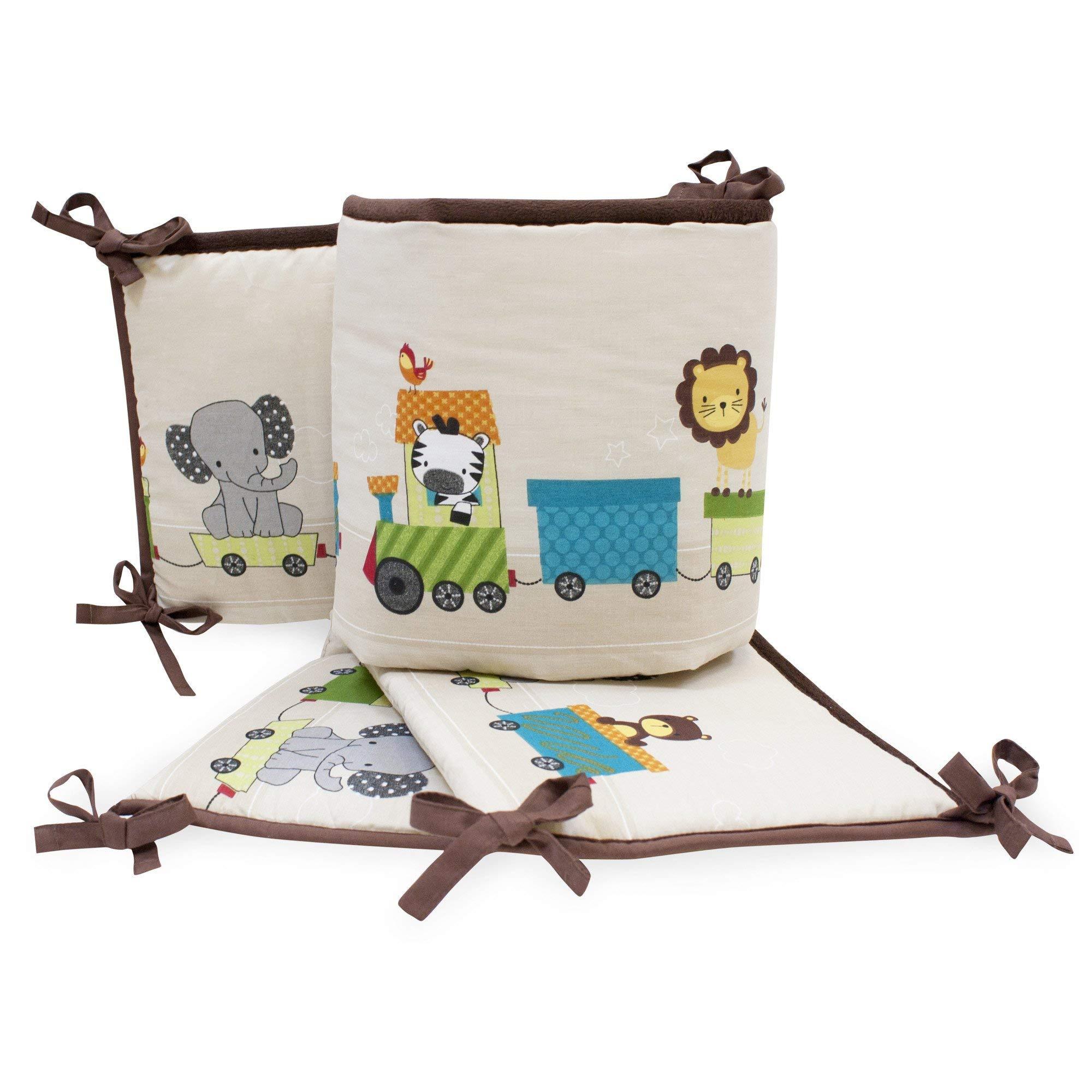 Bedtime Originals Choo Choo 4-Piece Crib Bumper - Brown, White, Animals