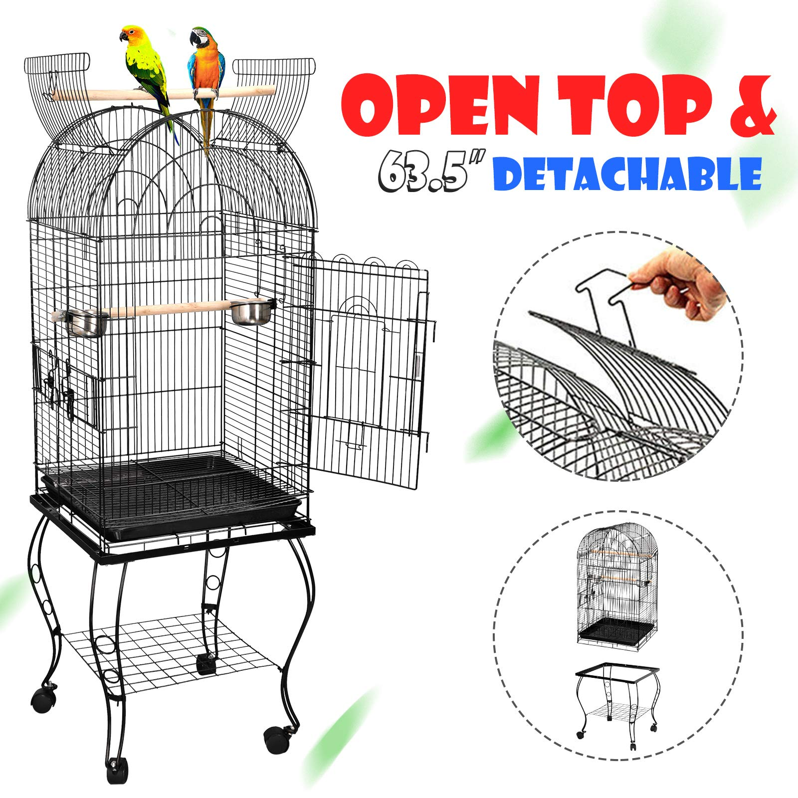 ZENY 63.5'' Large Bird Cage Dome Open Top Parrot Cockatiel Sun Parakeet Green-Cheek Conure Cage with Detachable Rolling Stand by ZENY