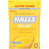 HALLS Sugar Free Honey Lemon Flavor Cough Drops, 1 Bag (180 Total Drops)