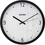 """Amazon Brand - Solimo 12"""" Wall Clock - Classique Paneling (Silent Movement, Black Frame)"""