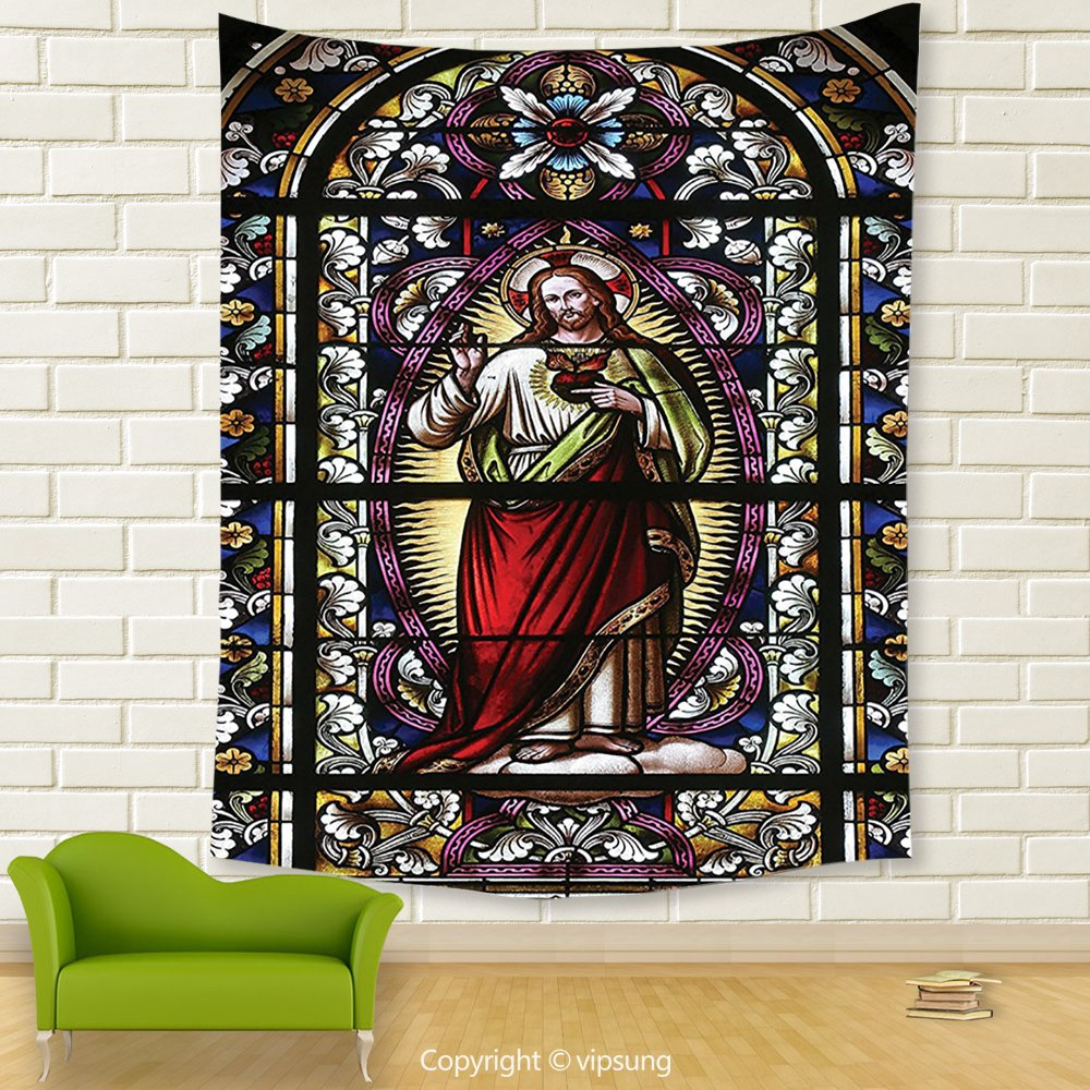 Vipsung House Decor Tapestry_Sacred Heart Of Jesus Pictures Decoration Catholic Gifts Believe Art Christian Decor Church Cathedral Window View Silky Satin Red Black White Blue_Wall Hanging For Bedroom