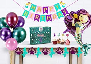 Mermaid Party Supplies | Features 2 Under the Sea Themed Tablecloths and Decorative Seashell Garland | Bonus GIANT Mermaid Balloons, and 24 Glitter Cupcake Toppers | Premium Birthday Party Decorations
