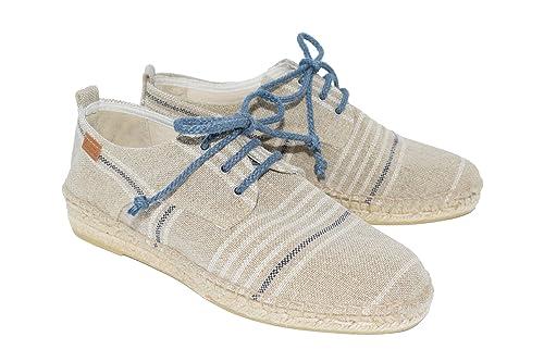 Alpargatas Hombre H40 Rallas Hugo Blancas y Azules H760: Amazon.es: Zapatos y complementos