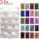 "KI Store 34ct Christmas Ball Ornaments Shatterproof Christmas Decorations Tree Balls for Holiday Wedding Party Decoration, Tree Ornaments Hooks Included 2.36"" (60mm White)"