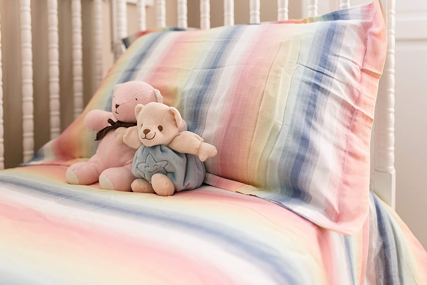 Navy 3 Piece Crib Bedding Set Premium-Quality Bedding Set for Baby Crib Dusty Rose and Cream Stripe 100/% Cotton Henry and Bros Super Soft