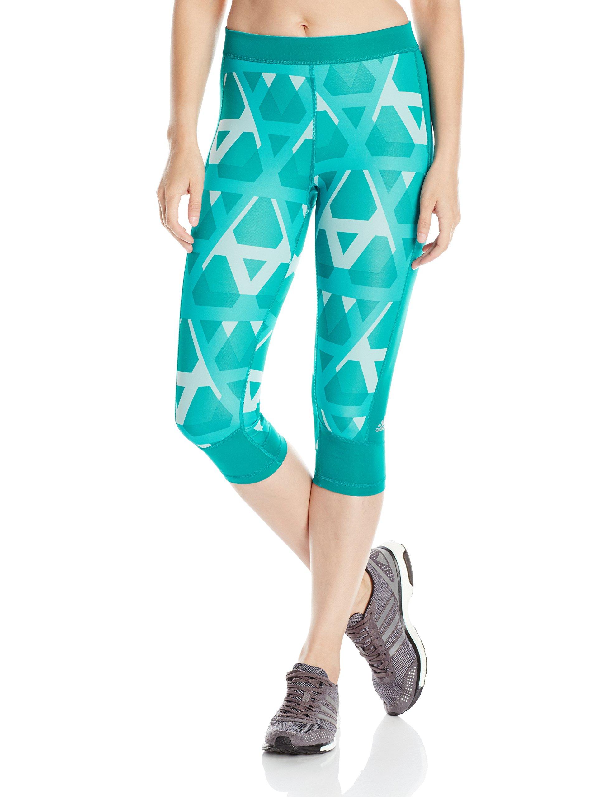 adidas Women's Techfit Capris, Equipment Green/Tri Print, X-Small