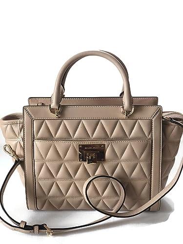 bb468654602a MICHAEL Michael Kors Women s Vivianne Large Satchel Leather Handbag (Oyster)   Handbags  Amazon.com