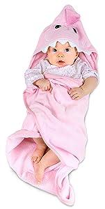 Hudz Kidz Hooded Baby Shark Towel, Soft 100% Cotton, Perfect for Newborn Through Toddler (Pink)
