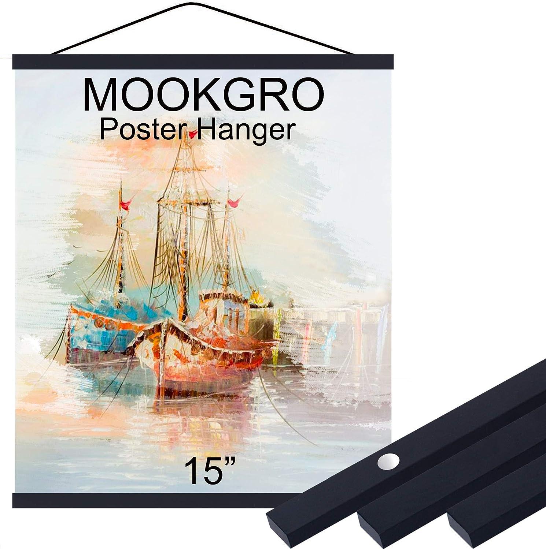 8,1 Set,Color Teak Mookgro Poster Frame 8x10 8x12 8x18 Magnetic Poster Frame Hanger Hanging Kit for Picture Photo Art Print or Canvas Artwork Light Wood