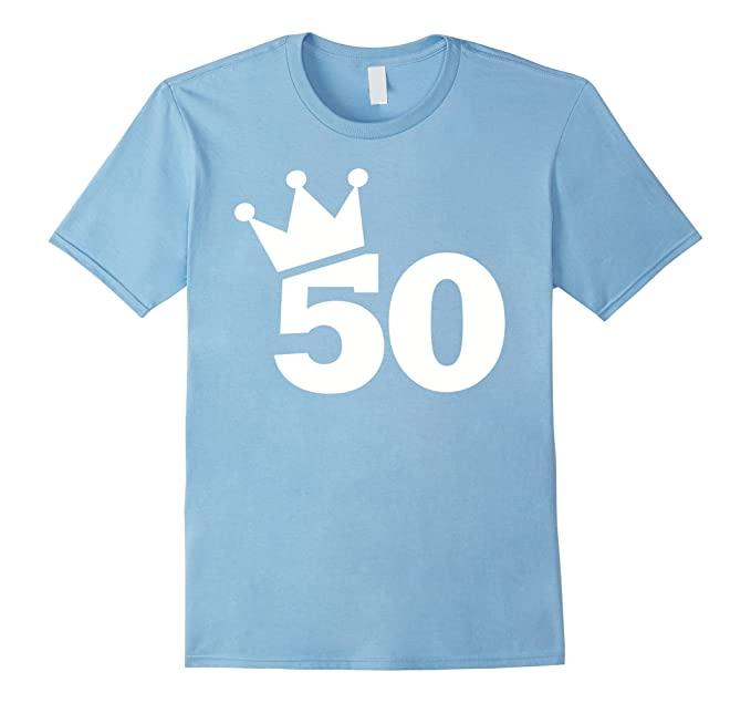 Mens 50th Birthday Crown T Shirt 2XL Baby Blue