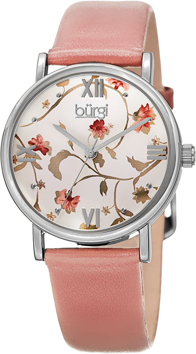 Burgi Stylish Floral Print Women s Watch – On Genuine Leather Strap with Roman Numerals – BUR186