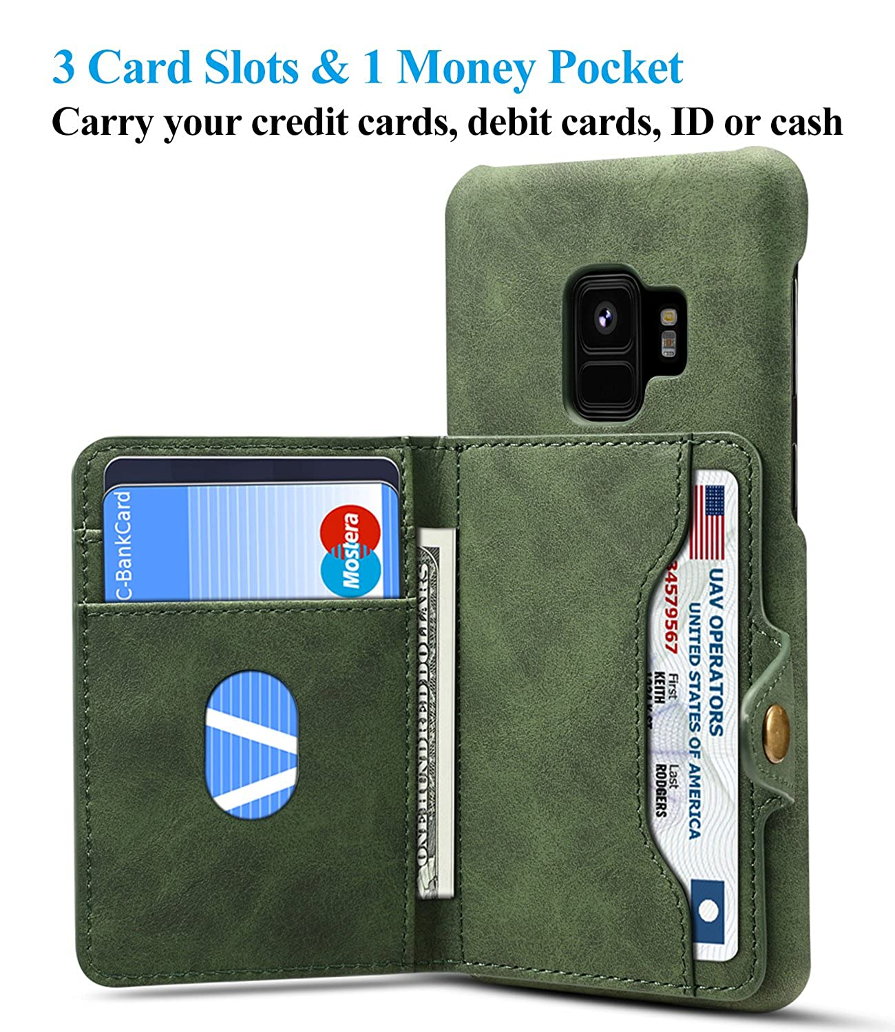 Galaxy S9 Wallet Phone Leather Case Flip Stand Cover with 3 Card Slots Holder