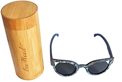 39e7366f1e9e EcoWood Wild CatEye Exotic Shellwood Wood Sunglasses with Dark Gray  Polarized Lens and Bamboo case
