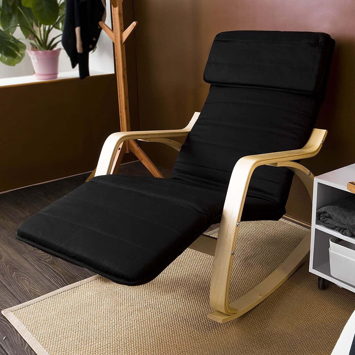 Amazon.com: Haotian Comfortable Relax Rocking Chair With Foot Rest Design,  Lounge Chair, Recliners Poly Cotton Fabric Cushion FST16 (black): Kitchen U0026  ...