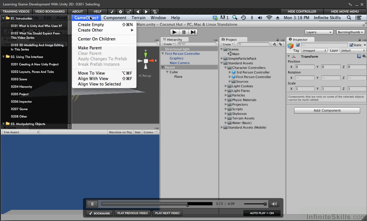 Learning Game Development With Unity 3D Training [Online Code] by Infiniteskills