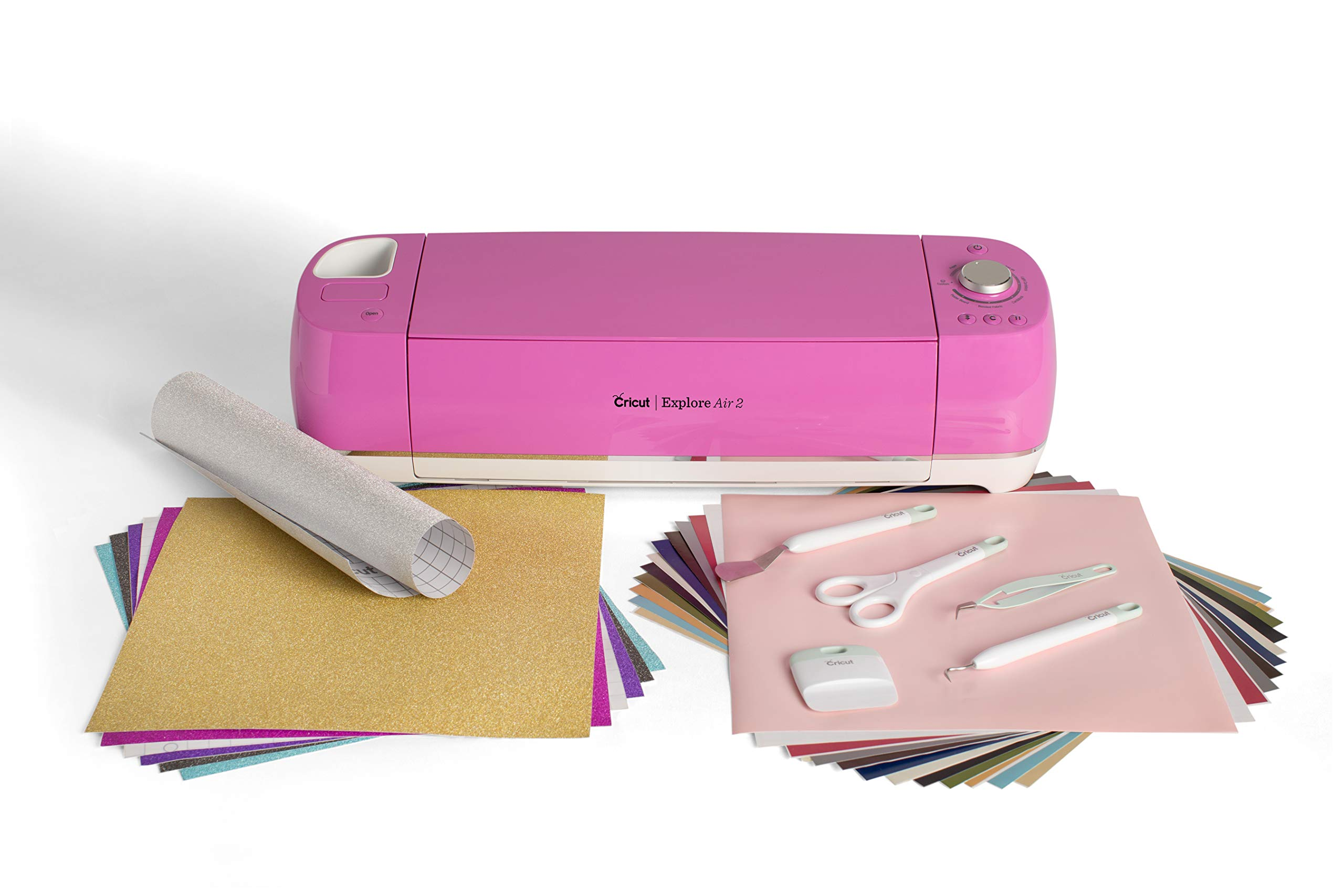 Cricut Explore Air 2 Fuchsia Bundle with Basic Tool Set and Two Vinyl Samplers