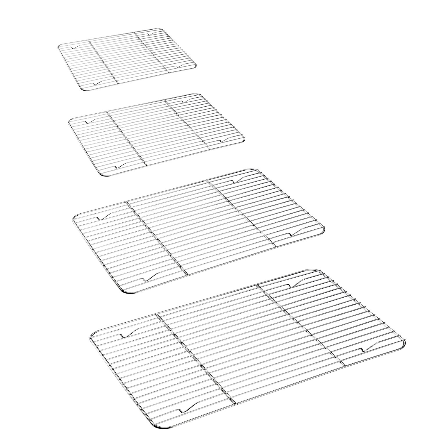 Cooling Rack 4 Pack, P&P Chef Stainless Steel Baking Rack for Cooking, Baking, Roasting, Grilling, Fit Various Size Cookie Sheets - Oven & Dishwasher Safe