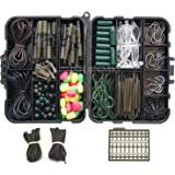 JSHANMEI ® Carp Fishing Tackle Kit with Swivels/Hooks/Sleeves/Rubbers Tubes/Lead Clips/Beads/Hair Rigs/Hair Extender Stoppers Set (225pcs/box)
