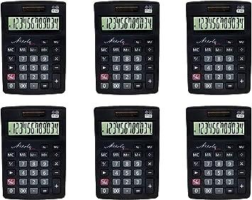 Nikola Works Bulk Premium Desktop Calculator Set Large 12 Digit Tilted Digital LCD Screen Dual Powered Solar and Battery Operated Standard Function Quiet Keys Operation (6-Pack) - Wholesale Multipack