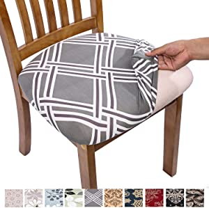 Comqualife Stretch Printed Dining Chair Seat Covers, Removable Washable Anti-Dust Upholstered Chair Seat Cover for Dining Room, Kitchen, Office (Set of 6, Grey Geometric)