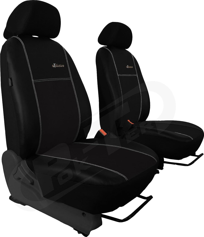 Für VW Touran II paßgenaue Vordersitzbezüge im Design EXCLUSIVE Alcantara mid EcoLeder in SCHWARZ (In 4 Farben bei