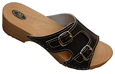 Holzpantoletten für Damen Clogs Schuhe mit Absatz Holz Sandalette Leder Clogs Pantolette (40, Schwarz)