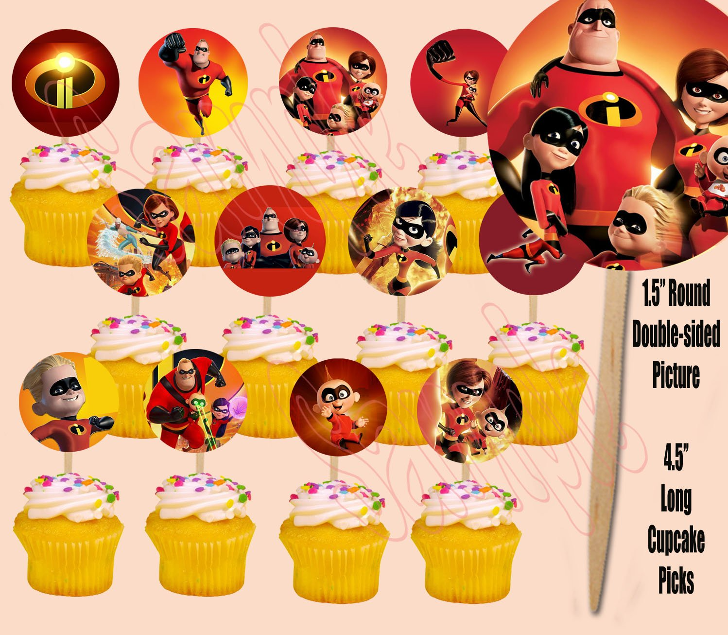 Party Over Here The Incredibles Cupcake Picks Cake Toppers -12 pcs Disney Movie, Elastigirl, Violet, Dash JackJack