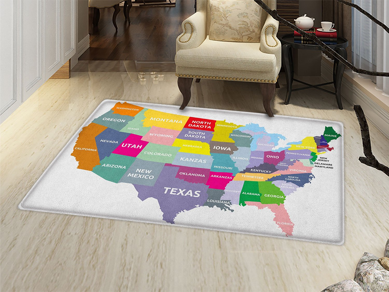 Map Door Mat outside USA Map with Name of States in Different Colors America Geography Cartography Theme Bathroom Mat for tub Non Slip Multicolor