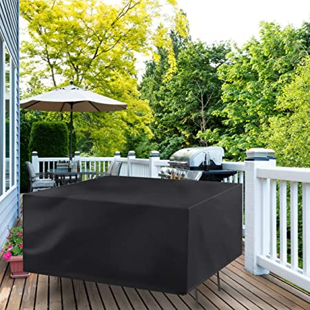 Garden Furniture Cover Patio Furniture Covers Waterproof Outdoor Table Covers With Windproof Drawstring 420d Heavy Duty Oxford Fabric Rattan Furniture Cover Anti Uv Snow Protection 170x94x70cm Amazon Co Uk Garden Outdoors