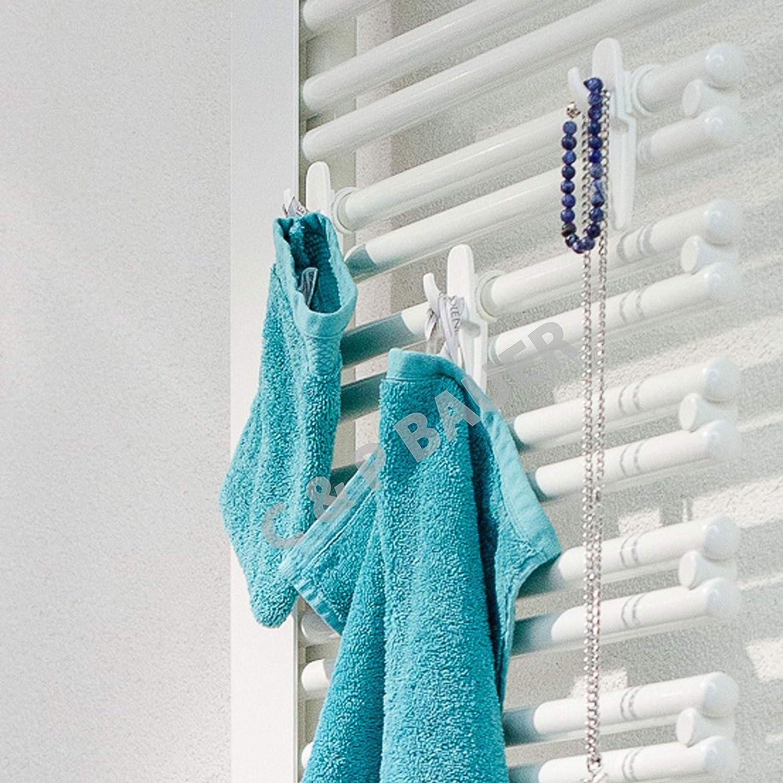 Top Qualit/ät Hakenclip der originale Rundheizk/örper-Haken f/ür das Bad Premium Handtuchhalter im 6er Set Farbe Made in Germany weiss