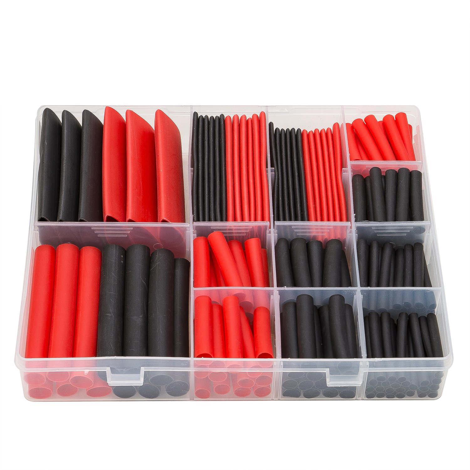 SwitchMe 198Pcs 3:1 Heat Shrink Tubing Double-wall Adhesive Lined Shrink Wrap Tubing Assortment Kit 7 Size 1'' 3/4'' 1/2'' 3/8'' 1/4'' 3/16'' 1/8'' Mix Black Red by SwitchMe