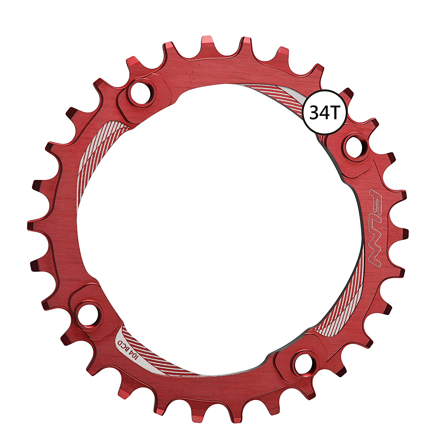 FunnソロNarrow Wide Chainring 34t B01NCUL96R レッド レッド
