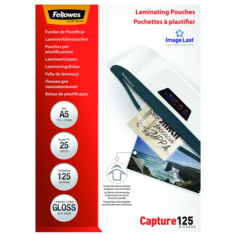 Confezione da 25 Pezzi 80 Micron Fellowes 5396403 Pouches Lucide Enhance80,Formato A3