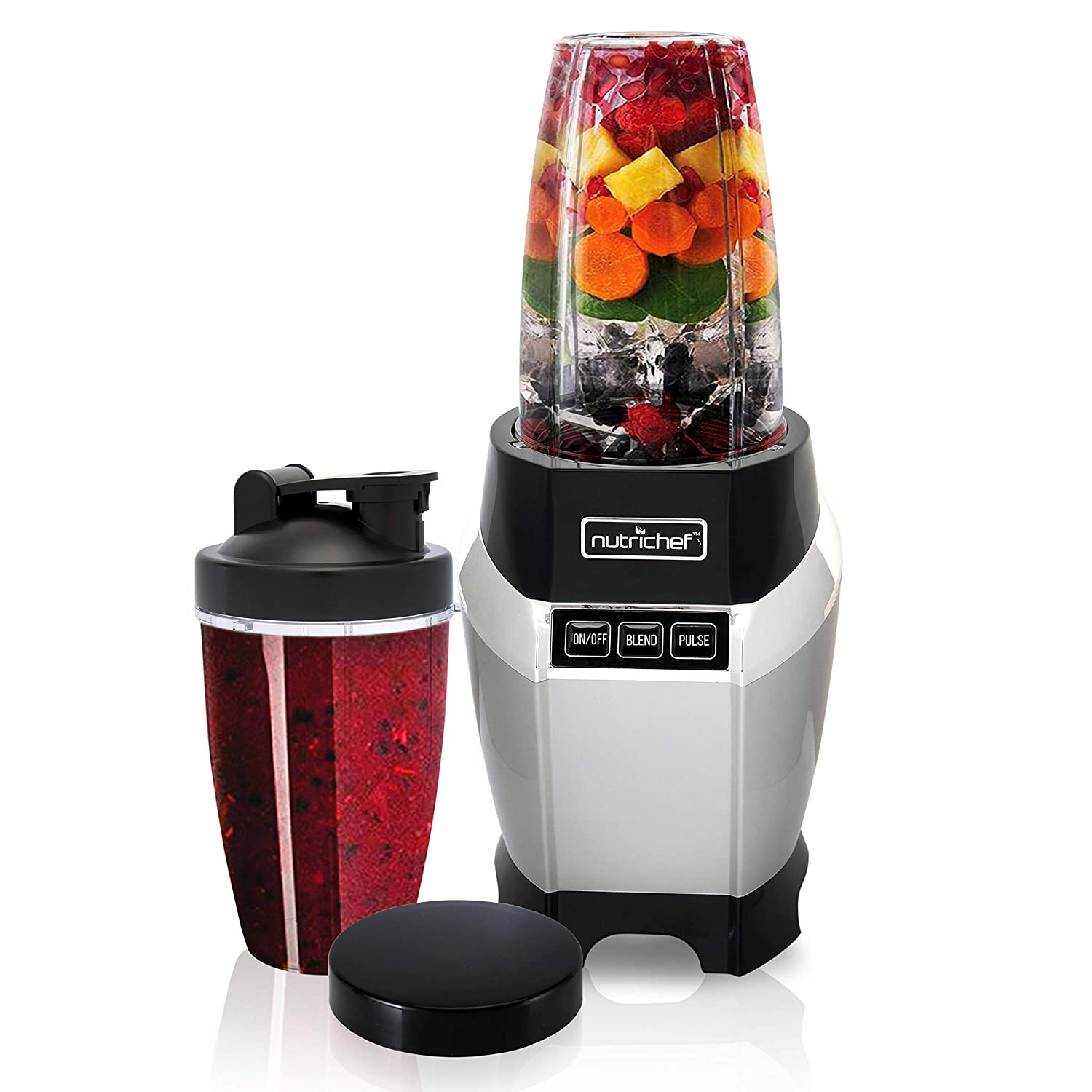 Personal Electric Single Serve Blender-Small Professional Kitchen Countertop Mini Blender for Shakes & Smoothies w/Pulse Blend, Convenient Lid Cover, Portable 20 & 24 oz Cups-Nutrichef NCBL1000