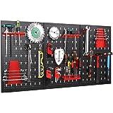 FIXKIT Panel para Herramientas de Metal 17 Piezas, 120 x 60 cm, Organizador y Soporte para Pared de Multiusos, Tablero…