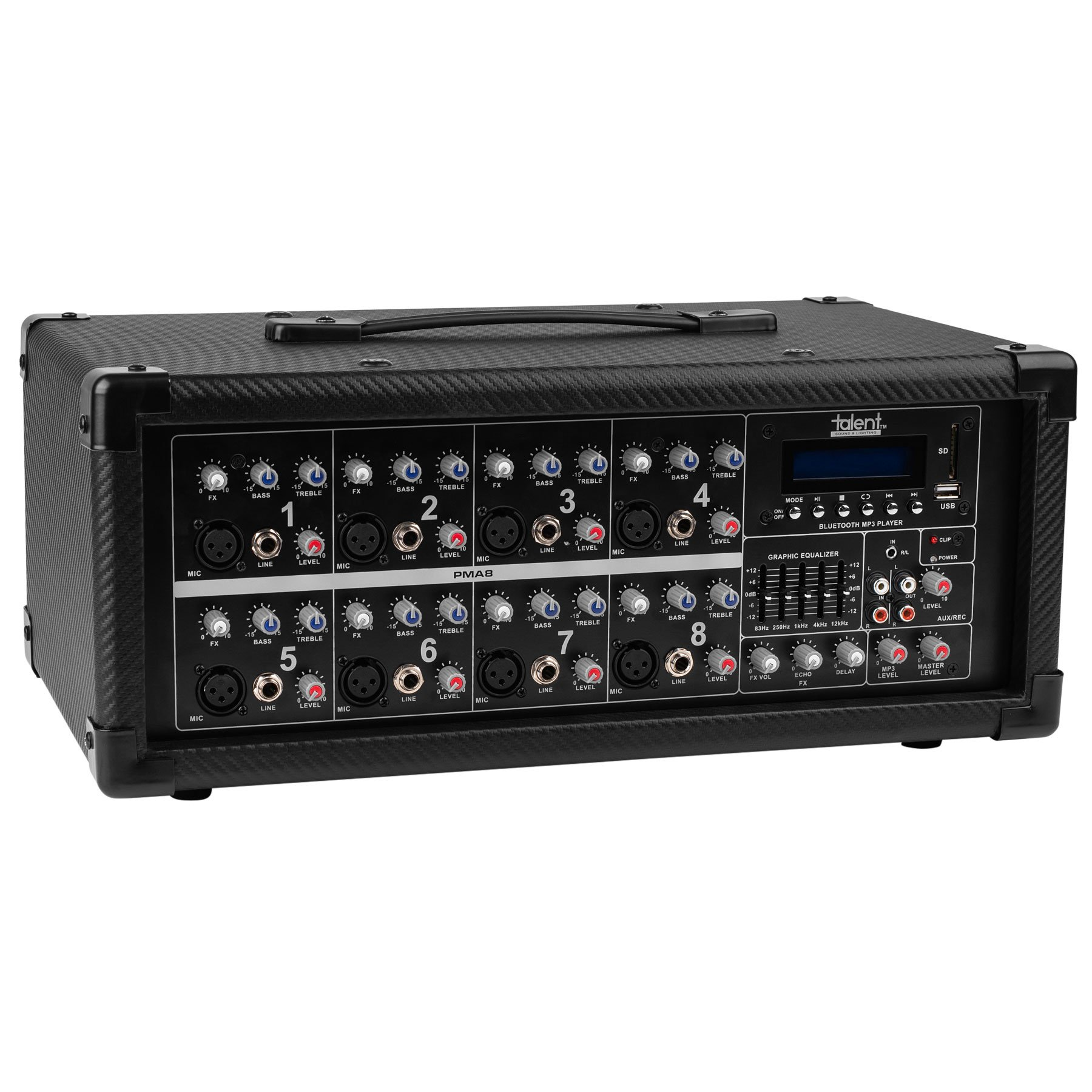 Talent PMA8 8-Channel Powered Mixer with Bluetooth MP3