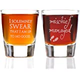 I Solemnly Swear That I am Up to No Good & Mischief Managed: Marauder's Map Inspired Shot Glass Set