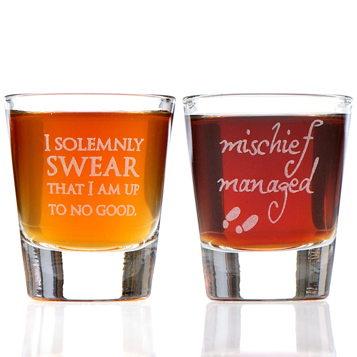 I Solemnly Swear That I am Up to No Good & Mischief Managed: Marauder's Map Inspired Shot Glass Set Alder House Market